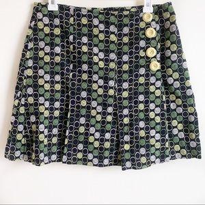 Anthropologie Elevenses Mini Skirt Dot Flap Size 8